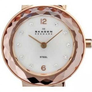 Skagen Leather Collection Rose Gold Ion Plated SS Ladies Watch-456SRLW-dial