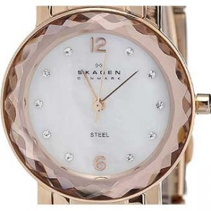 Skagen Steel Collection Rose Gold Tone SS Ladies Watch - 457SRRX-dial