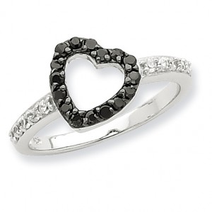 Sterling Silver Rhodium Black & White CZ Heart Ring