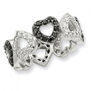Sterling Silver Rhodium Black & White CZ Hearts Ring