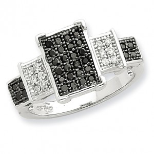 Sterling Silver Rhodium Black & White CZ Square Ring