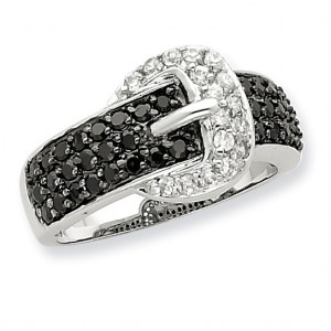 Sterling Silver Rhodium Black and Clear CZ Buckle Ring