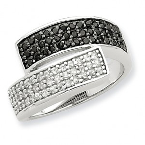 Sterling Silver Rhodium Black and Clear CZ Overlapping Ring