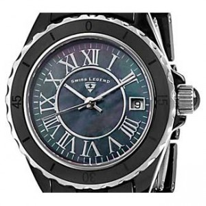 Swiss Legend Karamica Black Ceramic Ladies Watch - SL-20050-BKBSR-dial