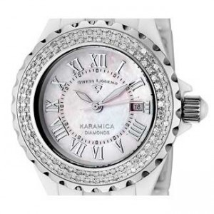 Swiss Legend Karamica White Ceramic Ladies Watch - SL-10051-WWSR-dial