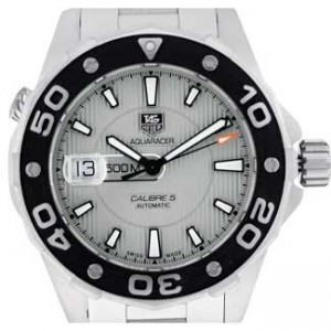 Tag Heuer Aquaracer Brushed SS Mens Watch - WAJ2111.BA0870-dial