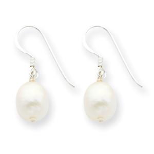 White Sterling Silver Freshwater Cultured Pearl Dangle Earrings