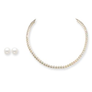 White SS 6-6.5mm Freshwater Cult. Pearl Earrings & Necklace Set