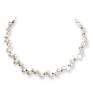 White Sterling Silver Freshwater Cultured Button Pearl 16in Necklace