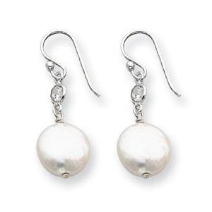 White Sterling Silver Freshwater Cultured Coin Pearl and CZ Earrings