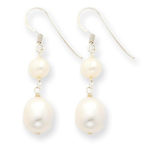 White Sterling Silver Freshwater Cultured Pearl Dangle Earrings