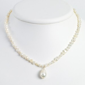 White Sterling Silver Freshwater Cultured Pearl Drop 18in Necklace