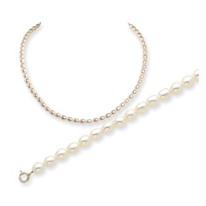 White SS Freshwater Cultured Rice Pearl Bracelet & Necklace Set
