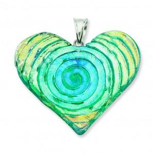 Multicolor Dichroic Glass Heart Pendant in Sterling Silver (QK-QC6587)