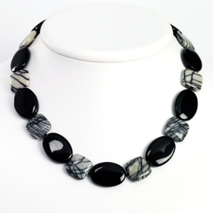 Black Sterling Silver Black Agate & Zebra Jasper Necklace