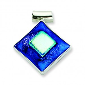 Blue Dichroic Glass Diamond Pendant in Sterling Silver (QK-QC6591)