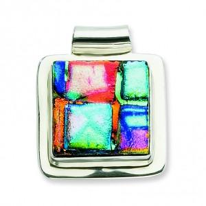 Multicolor Dichroic Glass Square Pendant in Sterling Silver(QK-QC6592)