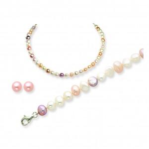 Multicolor SS Freshwater Cultured Pearl Earring/Bracelet/Necklace Set