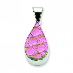 Pink Dichroic Glass Teardrop Pendant in Sterling Silver (QK-QC6594)