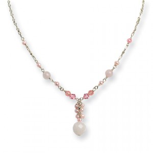 Pink SS Rose/Cherry Qtz/Pink Crystal/FW Cultured Pearl Necklace