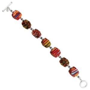 Red Sterling Silver Kung Sei Bead Bracelet (QG-QH1989-8)