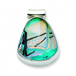 Teal Dichroic Glass Teardrop Pendant in Sterling Silver (QK-QC6589)