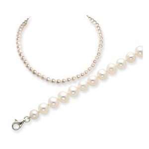 White SS 6.5-7mm Freshwater Cultured Pearl Bracelet/Necklace Set