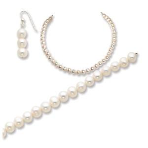 White SS Freshwater Cultured Pearl Necklace/Earrings/Bracelet Set